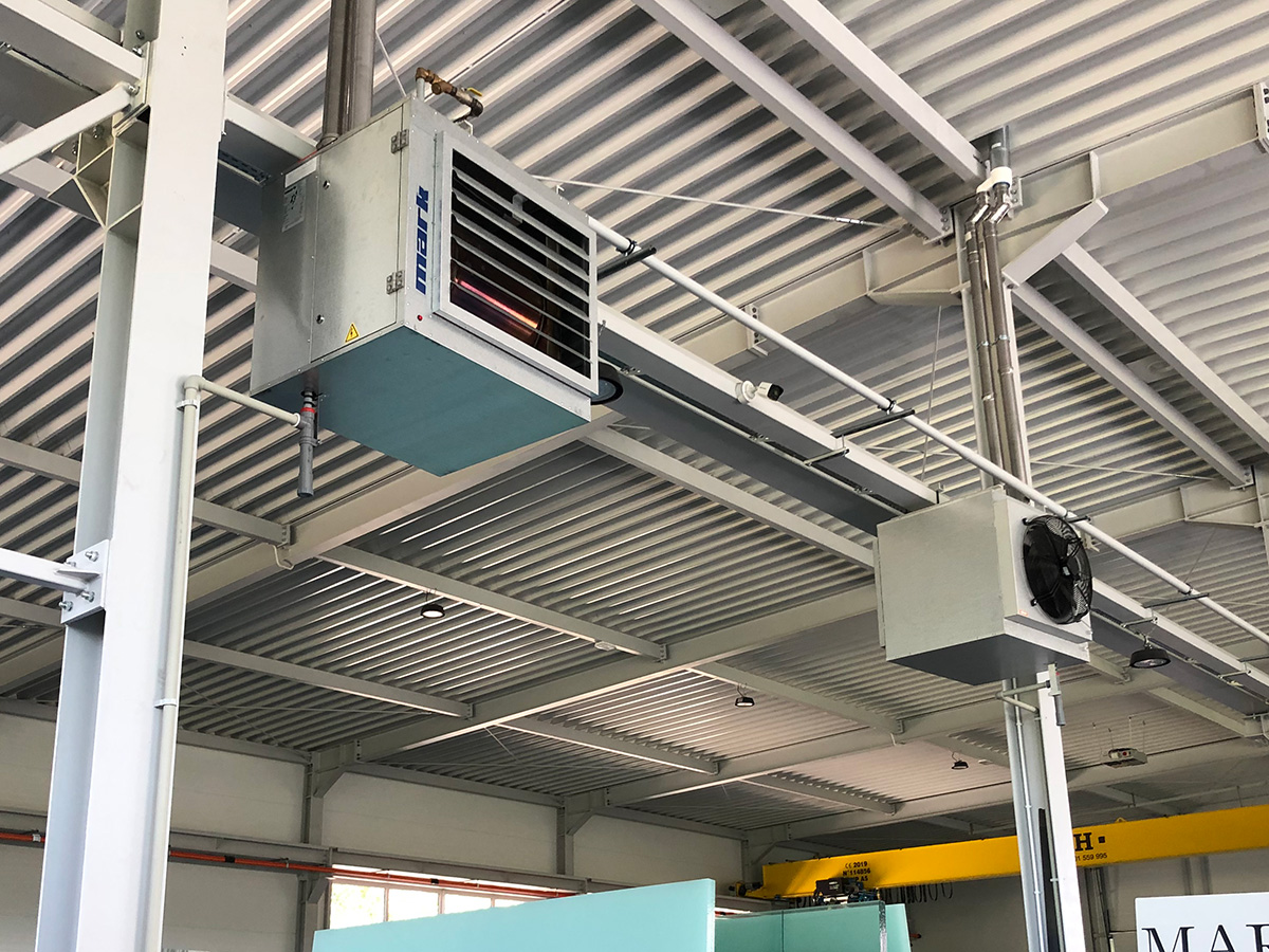 Mark GS+ air heaters installed in a production hall.