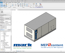 Screenshot of Revit with a model of an Airstream heat recovery unit.